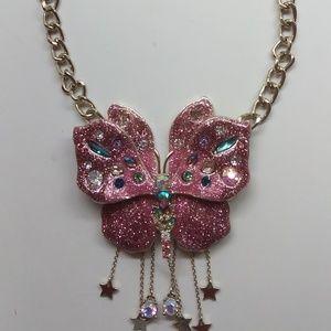 Betsey Johnson New Mauve Butterfly Necklace